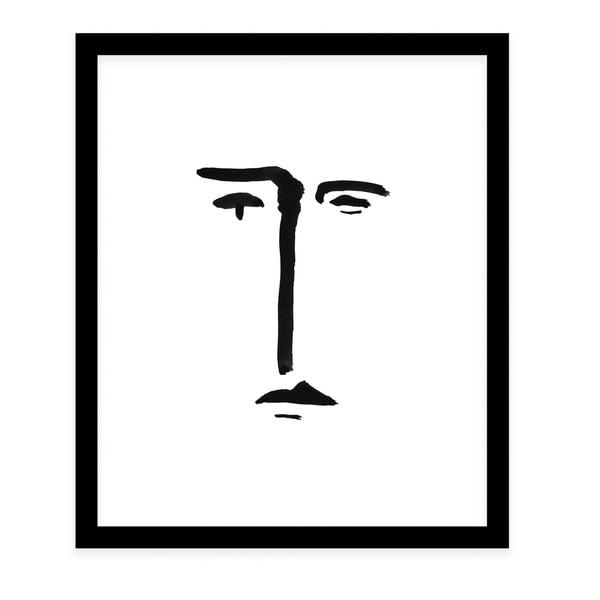 LINE FACE Black Framed Giclee Print By Danushka Abeygoda