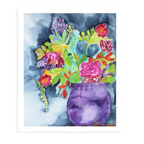 BOUQUET White Framed Giclee Print by Kavka Designs