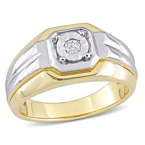 Miadora 2-tone White & Yellow Plated Sterling Silver Men's 1/10ct TDW Diamond Solitaire Wedding Band