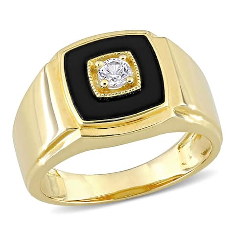 Miadora Yellow Plated Sterling Silver Men's Black Onyx & Created White Sapphire Halo Wedding Band