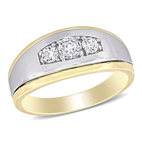 Miadora 10k 2-tone White & Yellow Gold Men's Created White Sapphire 3-stone Wedding Band Ring