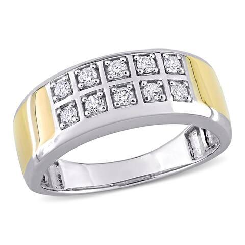 Miadora 10k 2-tone White and Yellow Gold Men's 1/3ct TDW Diamond Double Row Wedding Band Ring