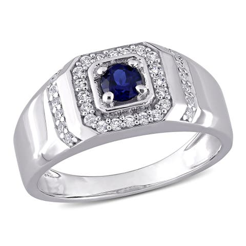 Miadora Sterling Silver Men's Created Blue and White Sapphire Halo Wedding Band Ring