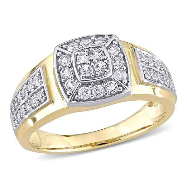 Miadora 10k 2-tone White & Yellow Gold Men's Created White Sapphire Cluster Halo Wedding Band Ring. Opens flyout.
