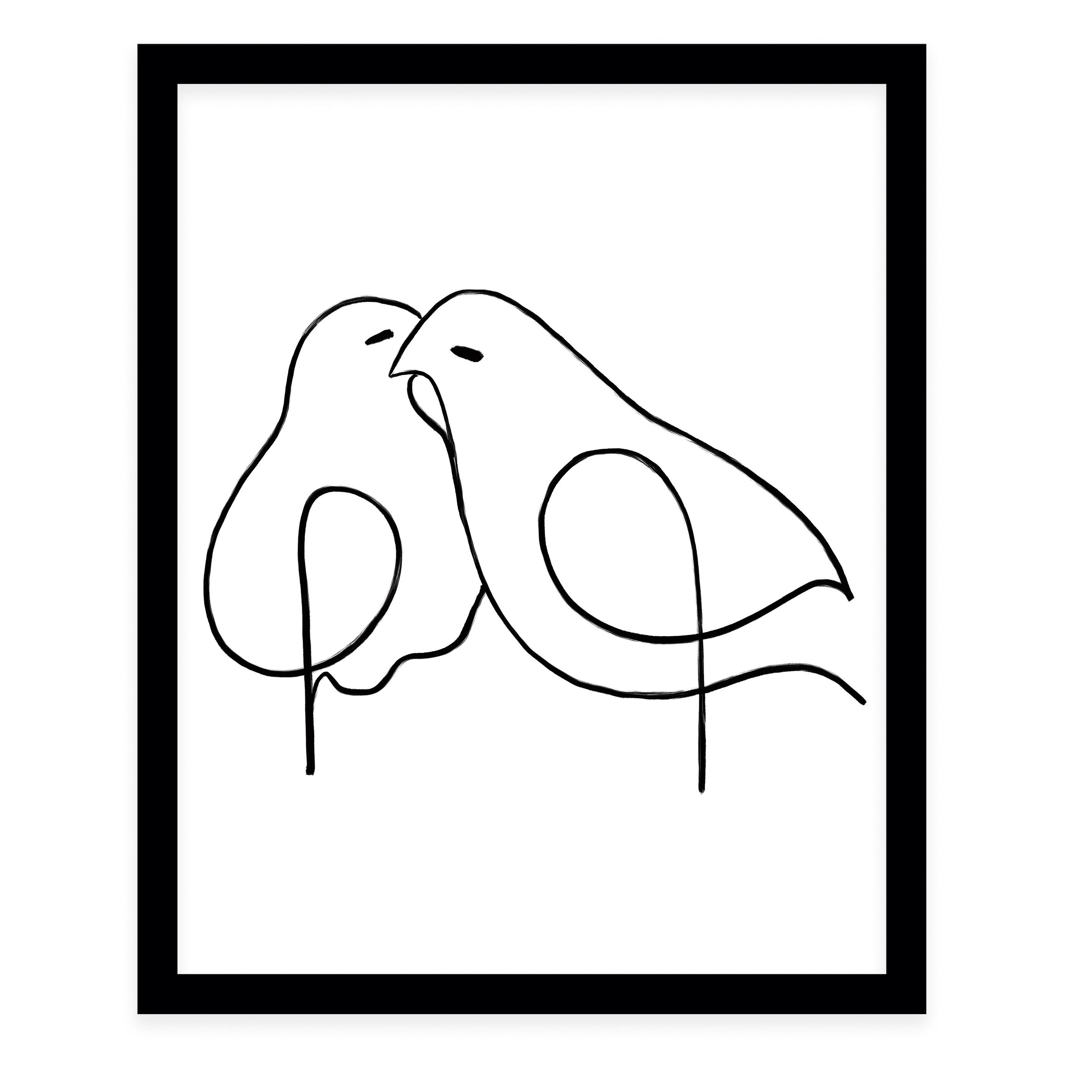 Shop Love Birds Black Framed Giclee Print By Kavka Designs Overstock 30821534