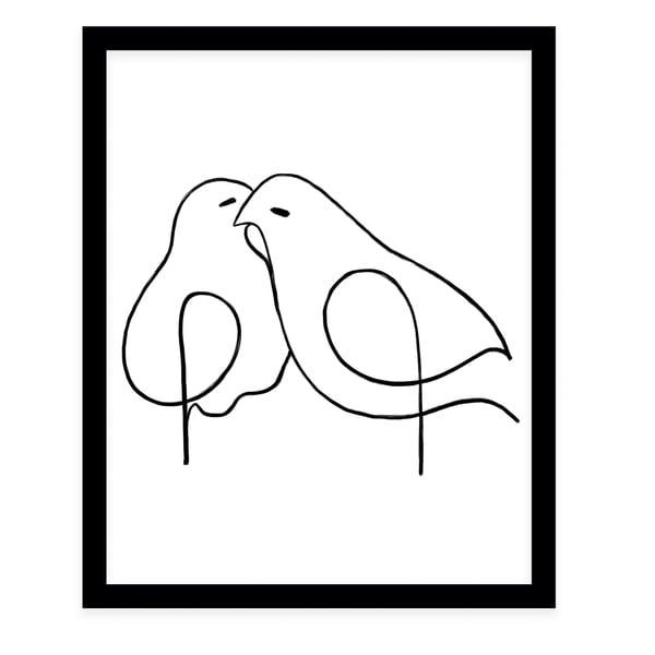 LOVE BIRDS Black Framed Giclee Print By Terri Ellis
