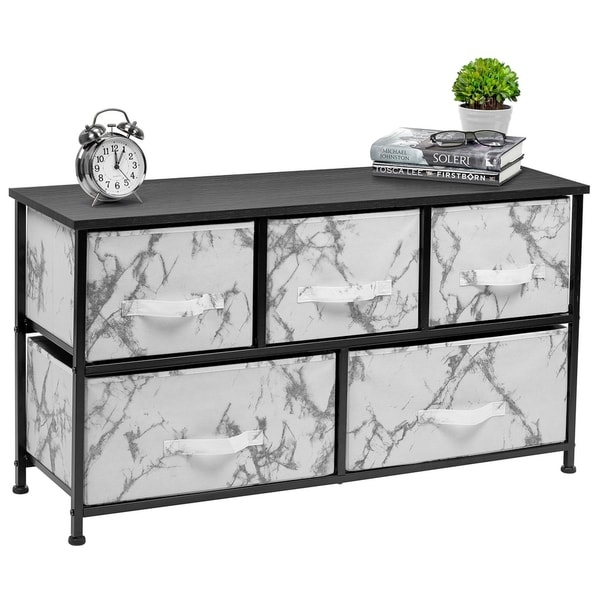5 Drawer Storage Chest (Black Frame, White Marble)