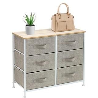 Extra Wide Dresser Organizer With 6 Drawers - Beige