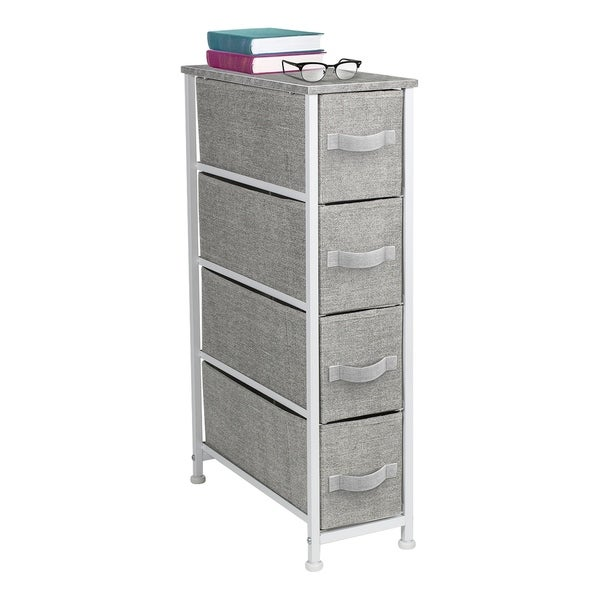 4 Drawers Chest Dresser Narrow Grey