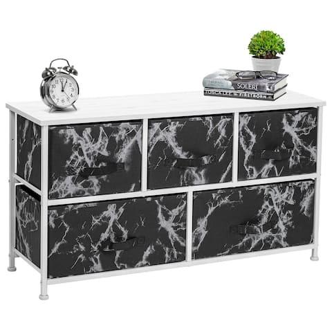 Porch & Den Andrea Black Marble Fabric/ White Wood 5-drawer Dresser