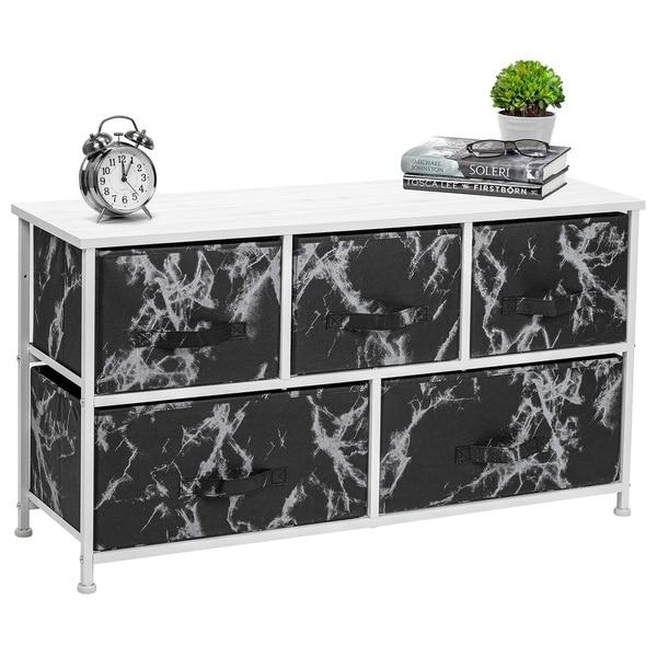 5 Drawer Storage Chest (White Frame, Black Marble)