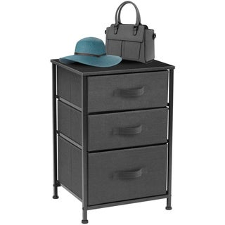 4 - Tier End Table  Storage Unit Dresser with Metal Frame  Wooden Tabletop for Dorm Room  Closet  Nursery - Black