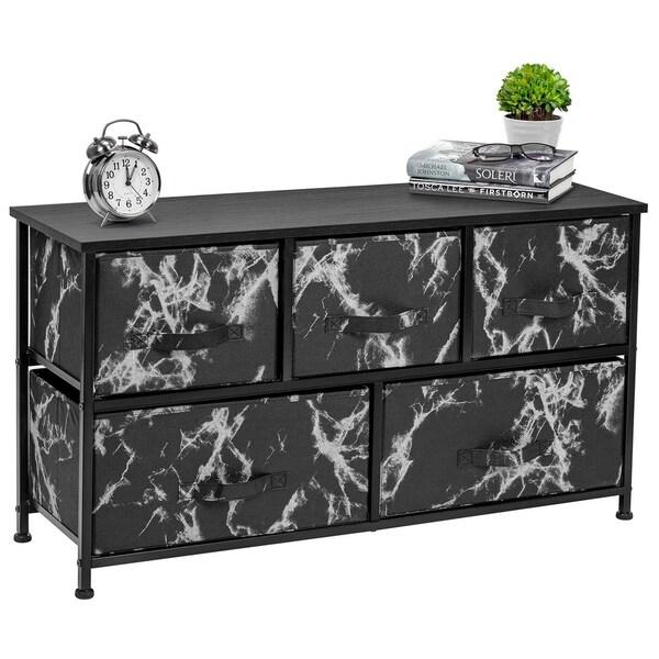 5 Drawer Storage Chest (Black Frame, Black Marble)