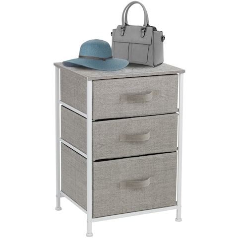 6 - Tier End Table Storage Unit Dresser with Metal Frame Wooden Tabletop for Dorm Room Closet Nursery - Gray