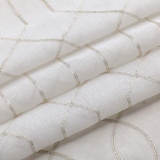 Trellis Embroidered Sheer Window Curtain Panel 2-pack or 4-Pack