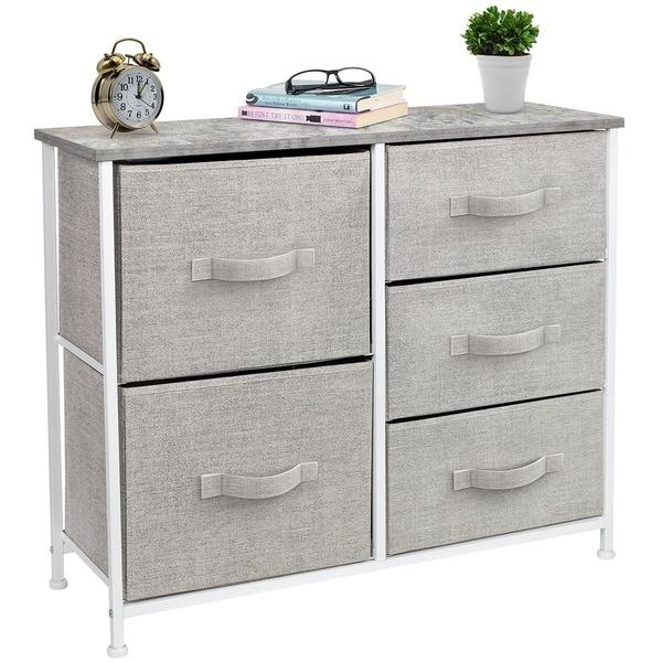 5 Drawers Chest Dresser - Grey