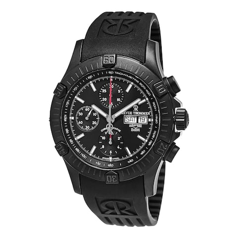 Revue Thommen Men's 16071.6877 'Air Speed' Black Dial Black Rubber Strap Swiss Automatic Watch