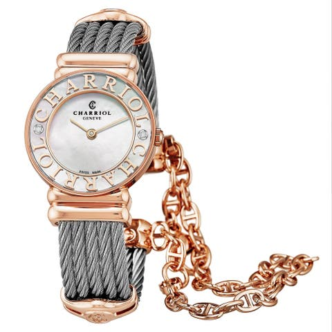 Charriol Women's 028PCD1.540.563 'St Tropez' Mother of Pearl Dial Two Tone Stainless Steel Diamond Quartz Watch