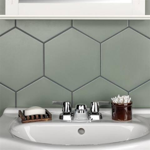SomerTile 8.63 x 9.88-Inch Textilis Basic Hex Kale Porcelain Floor and Wall Tile (25 Tiles/11.56 sqft.)