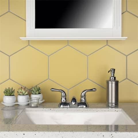 SomerTile 8.63 x 9.88-Inch Textilis Basic Hex Dandelion Porcelain Floor and Wall Tile (25 Tiles/11.56 sqft.)