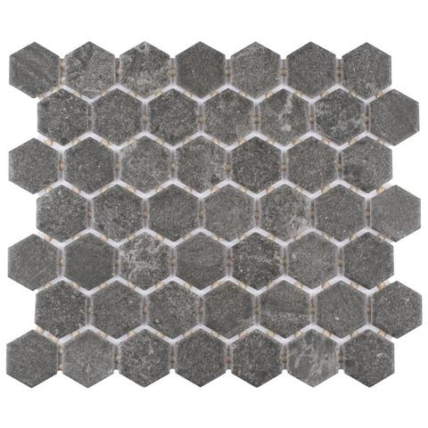 SomerTile 10.37 x 11.38-Inch Anfield Hex Dark Grey Ceramic Mosaic Floor and Wall Tile (12 Tile/9.84 sqft.)