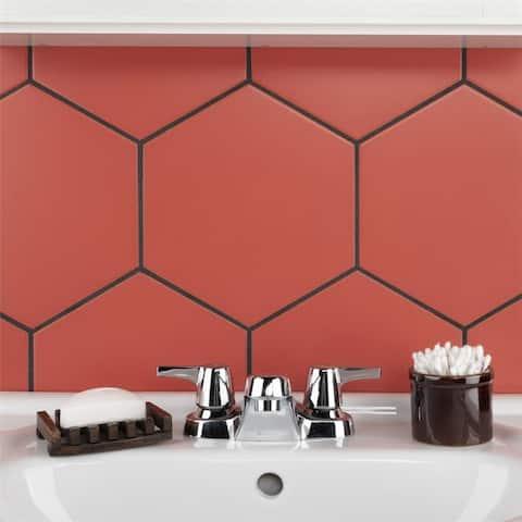 SomerTile 8.63 x 9.88-Inch Textilis Basic Hex Red Porcelain Floor and Wall Tile (25 Tiles/11.56 sqft.)
