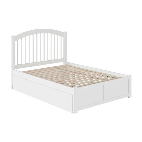 Windsor Full Platform Bed with Flat Panel Footboard and Twin Size Urban Trundle Bed