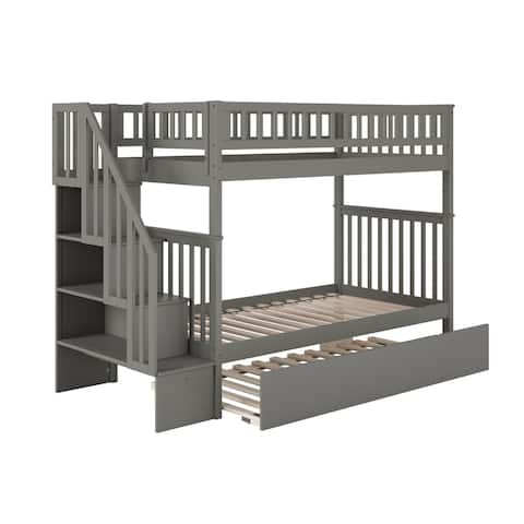 Woodland Staircase Bunk Bed with Twin Size Urban Trundle Bed in Grey