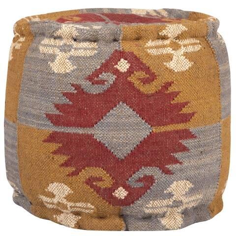 "Handmade Indo Wool and Jute Kilim Pouf (India) - 16"" x 16"" x 16"""