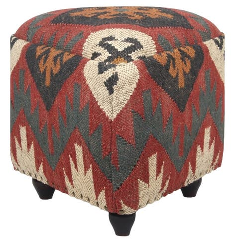 "Handmade Indo Wool and Jute Kilim Pouf (India) - 18"" x 18"" x 17"""