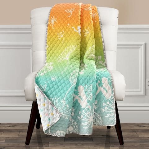 Make A Wish by Lush Decor Dandelion Fairy Ombre Pastel Rainbow Reversible Print Throw Blanket