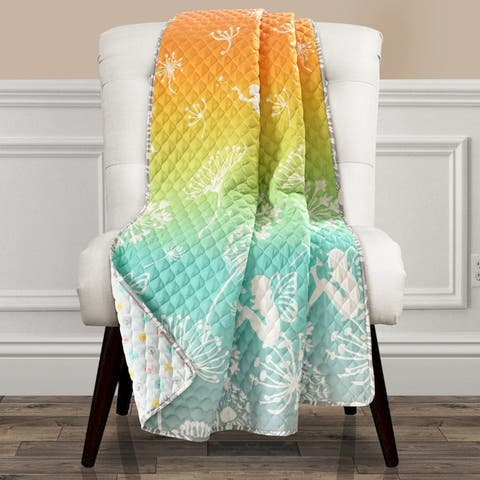 Make A Wish by Lush Decor Dandelion Fairy Ombre Pastel Rainbow Reversible Print Throw Blanket