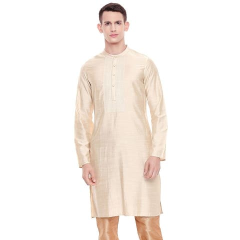 Shatranj Men's Indian Classic Collar Embroidered Placket Kurta Tunic