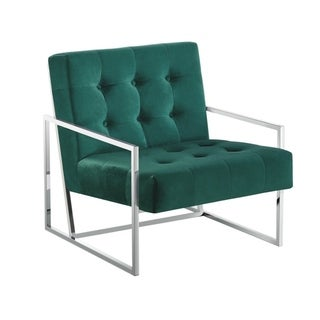 Best Master Furniture  Silver Frame with Velvet Arm Accent Chair (Green (Silver))