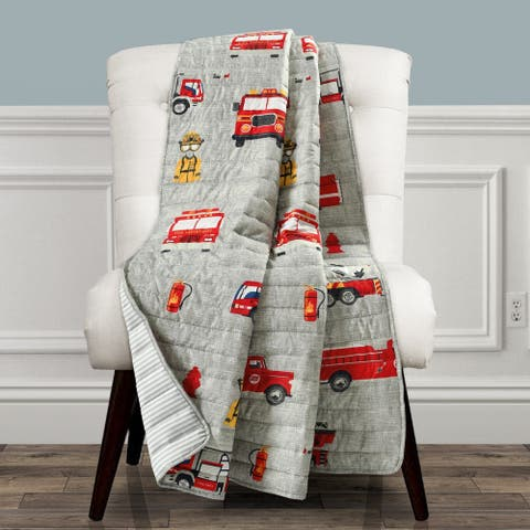 Make A Wish by Lush Decor Fire Truck Reversible Print Throw Blanket