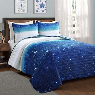 Make A Wish by Lush Decor Space Star Ombre Reversible Print Quilt Set