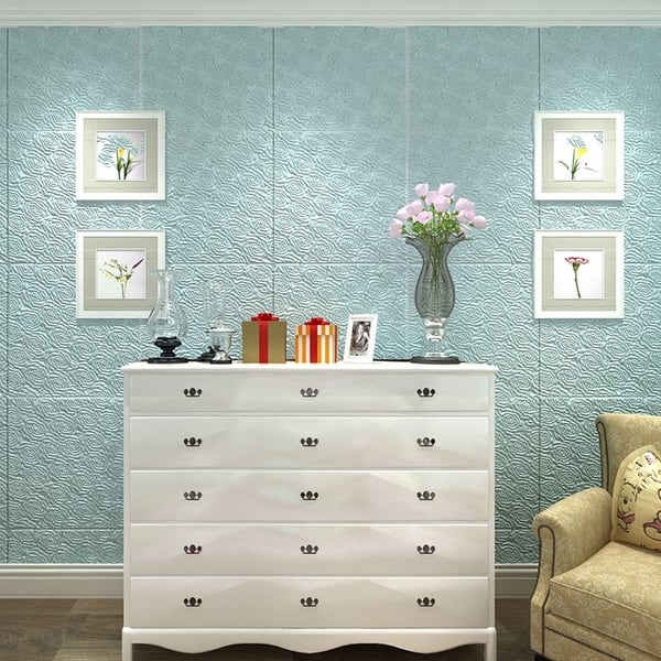 Framed Tile 8 by 8-inch and Off White Flowers and Circles Yellow ...