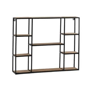 Wooden Wall Shelf with Metal Frame and 8 Tier Surface, Brown and Black