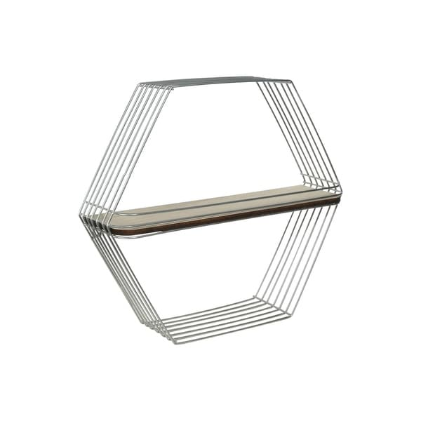 Wooden Wall Shelf and Hangers with Hexagonal Metal Frame, Silver and Brown
