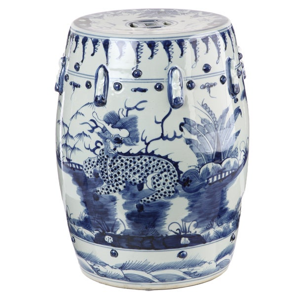 Handmade Blue and White Kylin Chinese Porcelain Garden Stool