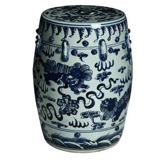 Handmade Lion Motif Chinese Porcelain Garden Stool (China)