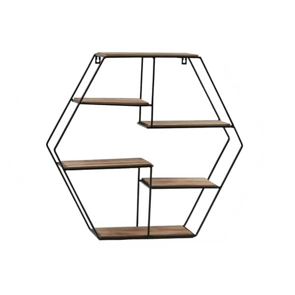 Hexagonal Wooden Wall Shelf with 5 Tier Surface, Brown and Black