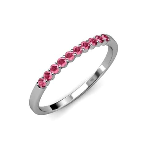 Trijewels Rhodolite Garnet 5/8 ctw 10 Stone Wedding Band 14KW Gold