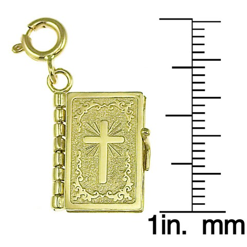 14k Yellow Gold Lord's Prayer Book Charm