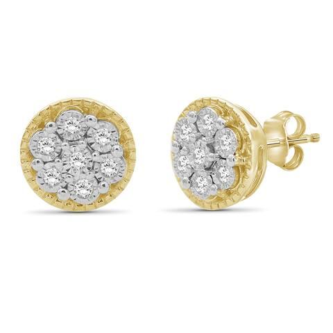 JewelonFire Sterling Silver 1/10 Ctw Genuine White Miracle Diamond Stud Earrings