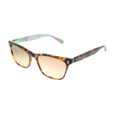 Lilly Pulitzer LP Lucca TO Womens Tortoise Frame Gold Mirror Lens Sunglasses