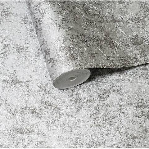 Modern Wallpaper Silver Grey Metallic plain plaster Concrete