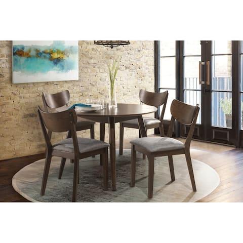San Marino 5PC Mid-Mod Round Dining Set, Chestnut