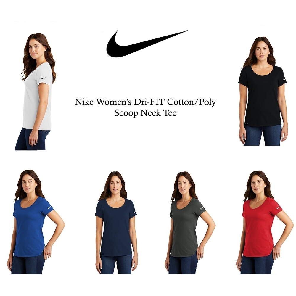 Nike Womens Dri-FIT Cotton/Poly Scoop Neck Tee
