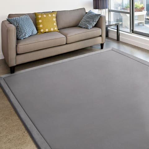 MICRODRY Cushioned Modern Memory Foam Area Rug with Built in Rug Pad - Easy Clean - Stain & Fade Resistant, 6' x 8'